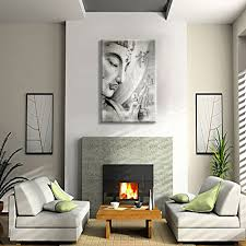 Grey Buddha Large HD Wall Art <b>Printed Abstract</b> Canvas Painting ...