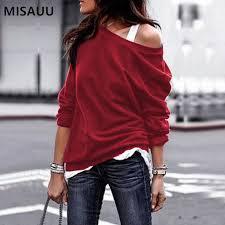 AliExpress <b>MISAUU Female</b> Jumper Sweatshirt Sexy Off Shoulder ...