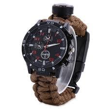 <b>Outdoor</b> Survival <b>Watch Tactical</b> Compass Bracelet Flint Fire Starter ...