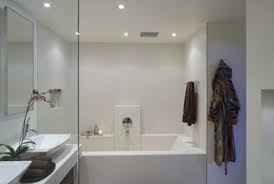 bathroom decorating in modern style using countertop glass screen double sink glass screen bathroom recessed lighting