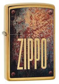 <b>Зажигалка Zippo</b> Rusty Plate с <b>покрытием</b> Brushed Brass, 29879 ...
