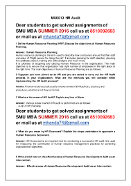 mu hr audit rd sem mba summer smu solved assignments