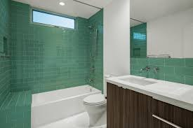 contemporary bathroom blue tile stripe bold modern bathroom with turquoise glass tiles