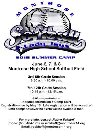 montrose r schools summer softball camp coming in 2012 softball camp flyer