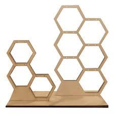 Wood Earring Display | <b>Honeycomb Jewelry Display</b> | Wood jewelry ...