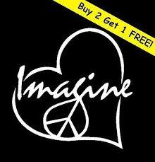 <b>IMAGINE PEACE</b> LOVE HEART Vinyl Decal Car Window Wall ...