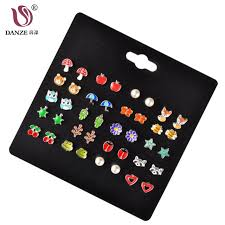 DANZE <b>20 Pairs</b>/lot Cute Fruit Animal <b>Stud</b> Earrings Set For <b>Children</b> ...