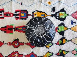 Authentic Moroccan <b>Pouf Black</b>, Ottoman style, <b>Handmade pouf</b> ...