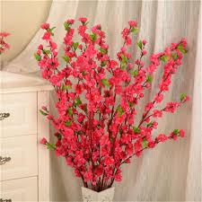 <b>1PC 65cm Artificial Cherry</b> Peach Blossom Branch Fake Silk Flower ...