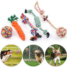 <b>5X DOG</b> ROPE Toys Tough Strong Chew Knot Knotted <b>Pet Puppy</b> ...