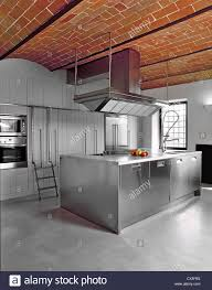 Concrete Floor Kitchen Modern Kitchen With Concrete Floor And Bricks Vaults Stock Photo
