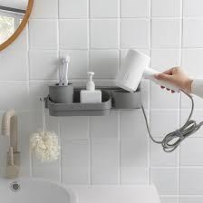 Original design <b>free punching Hair</b> dryer bathroom drain <b>shelf rack</b> ...