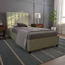 DHP Emily, <b>Light</b> Green <b>Linen</b>, Twin <b>Frame</b> Upholstered <b>Beds</b>