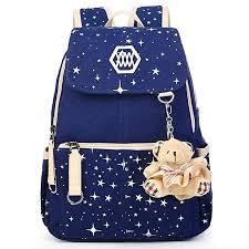 YiYiNoe <b>Canvas</b> School <b>Backpack Rucksack</b> Bookbag for Girls,<b>Star</b> ...