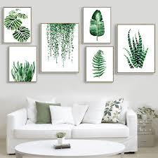 Modern <b>Green Tropical Plant Leaves</b> Canvas Art Print Poster ...