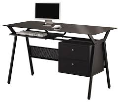 coaster computer desk with two storage drawers in black transitional desks and hutches black computer desks