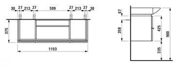 Тумба для <b>раковины Laufen</b> Palace <b>New</b> 4.0130.2.075.463.1 120 см