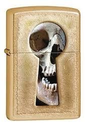 <b>Зажигалка</b> бензиновая <b>Keyhole</b> Skull (золотистая, матовая) от ...