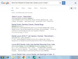 which is the website for searching dental jobs dental locum in google searchdent