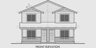 Duplex House Plan  Two Story Duplex House Plan  Affordable  D  House rear elevation view for D  Duplex house plans  two story duplex house