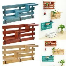 Wood <b>Wall Mounted Shelf Holder Storage Rack Organizer</b> Hanging ...