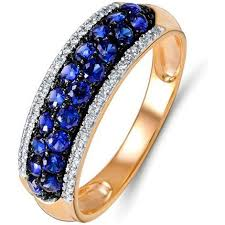 <b>Кольцо</b> с сапфирами и <b>бриллиантами</b> из красного золота ...