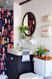 a guest bathroom renovation with a bold floral anthropologie shower curtain white planked walls style anthropologie style furniture