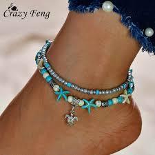 3PCS/Set <b>Bohemia Beads</b> Multi layers Anklet for Women <b>Foot</b> Leg ...