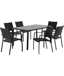 patio table and 6 chairs: lima rattan effect  seater patio furniture set black
