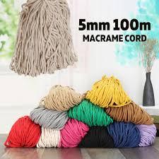 <b>5mm</b> Macrame Rustic Rope Colorful Cotton <b>Twisted</b> Cord String <b>DIY</b> ...
