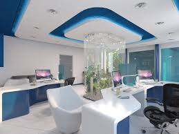 beautiful office interior design with white blue stylish furniture and mini garden in the middle of blue office room design