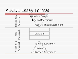 abcde essay structure the five paragraph essay  for persuasive and    abcde essay format attention grabber bridge background central thesis statement ending statement summarize ""