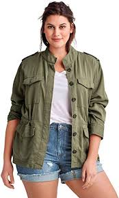 ellos Women's <b>Plus Size</b> Drapey <b>Military Jacket</b> at Amazon Women's ...