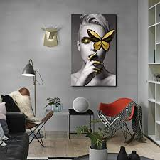 Canvas Wall Art <b>Abstract</b> Sexy Beauty with Gold Butterfly <b>Black</b> and ...
