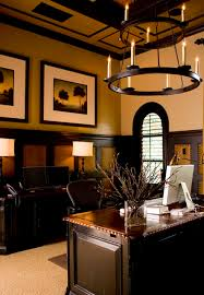 brown red white home office color theme and mediterranean decorating style wall decor chandelier home office lighting