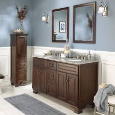 55 inch double sink bathroom vanity: double inspiration bathroom in demand brown wooden bathroom furnishings set using tall dresser as towel storage also brown  inch double sink vanity feat grey bath mat as decorate brown and grey bathroom i