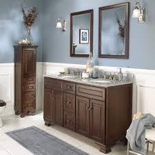 55 inch double sink bathroom vanity: double inspiration bathroom in demand brown wooden bathroom furnishings set using tall dresser as towel storage also brown  inch double sink vanity feat grey bath mat as decorate brown and grey bathroom i