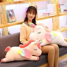 <b>1pc</b> 50-<b>80cm New</b> Lying Unicorn Stuffed Dolls <b>Kawaii</b> Soft Animal ...