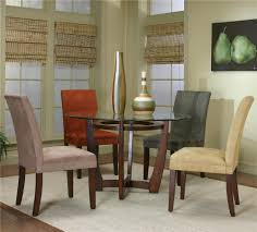 Suede Dining Room Chairs Round Dining Table And Micro Suede Chairs By Cramco Inc Wolf