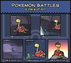 Pokemon Battles - 5 Days of Art! (Art Meme) by PeekingBoo on ... via Relatably.com