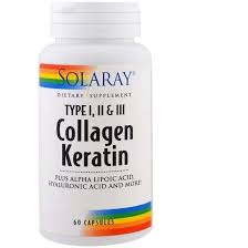 Solaray <b>Collagen Keratin</b>, Type I, II, III, 60 Capsules (SOR-73799 ...