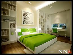 trendy bedroom decorating ideas home design:  green white bedroom