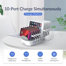 <b>ORICO 10</b> Ports 120W Fast USB Charger Station Dock with Phone ...