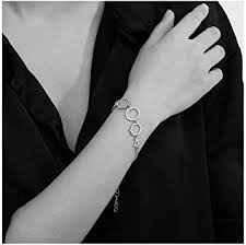 Olbye Rhinestone Crystal <b>Bracelet Silver</b> Hexagon <b>Bracelet</b> ...