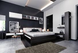 master bedroom feature wall:  white black brown modern bedroom furniture