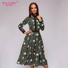 S.FLAVOR <b>patchwork printing women A-line</b> dress 2019 Autumn ...