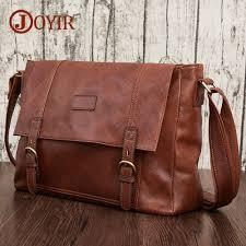 <b>JOYIR</b> Vintage <b>Genuine Leather Men</b> Bag Brand Casual Business ...