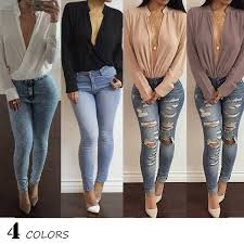 Buy Solid Summer Tops <b>S</b>-<b>XL Women</b> Long Sleeve <b>V Neck</b> Loose ...