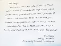 kasey k photo at career fair at delavan darien high school above is the letter note i received on a ddhs emblemed thank you note