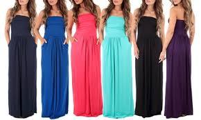 <b>Women's Strapless</b> Maxi <b>Dress</b>. Plus Sizes Available.
